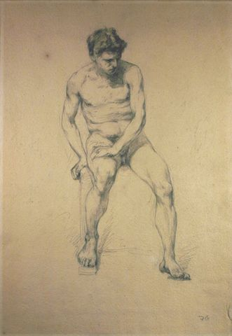 Untitled (Male Figure Study), 1877, Carl von Marr, Museum of Wisconsin Art, 0102.