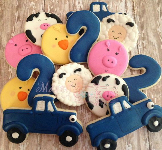 1 dozen Little Blue Truck Farm Animal by Magnificookies on Etsy