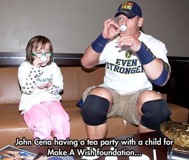 John Cena having a tea party with a child for Make a Wish Foundation - faith in humanity restored