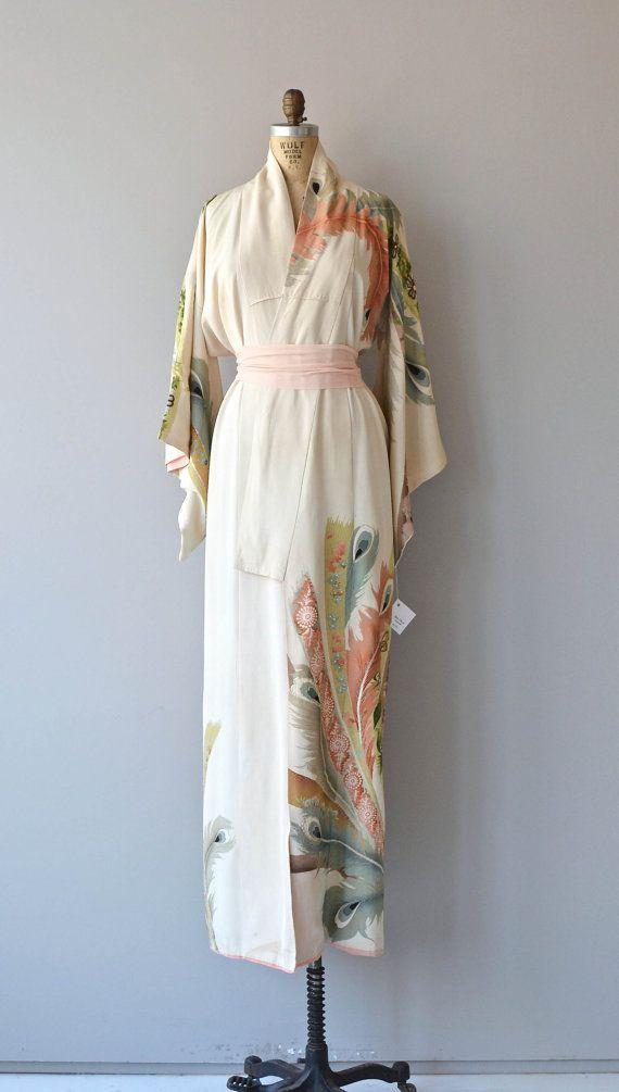 Kujaku kimono vintage japanese kimono floral silk by DearGolden