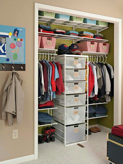 Use one of these drawer organizers to divide up a space in closet. Ideal for shared room (siblings, dorm or his & her closet space.  G;)