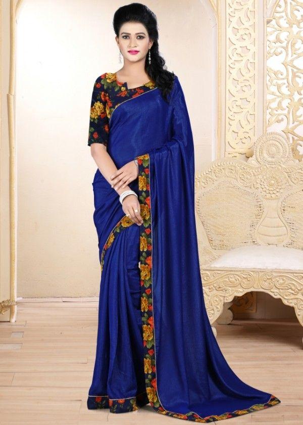 Gorgeous navy blue banarasi silk printed saree