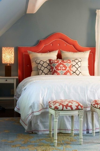 orange,charcoal, grey, beige, white!Colors Combos, Color Schemes, Color Combos, Guest Bedrooms, Headboards, Master Bedrooms, Colors Schemes, Guest Rooms, Gray Wall