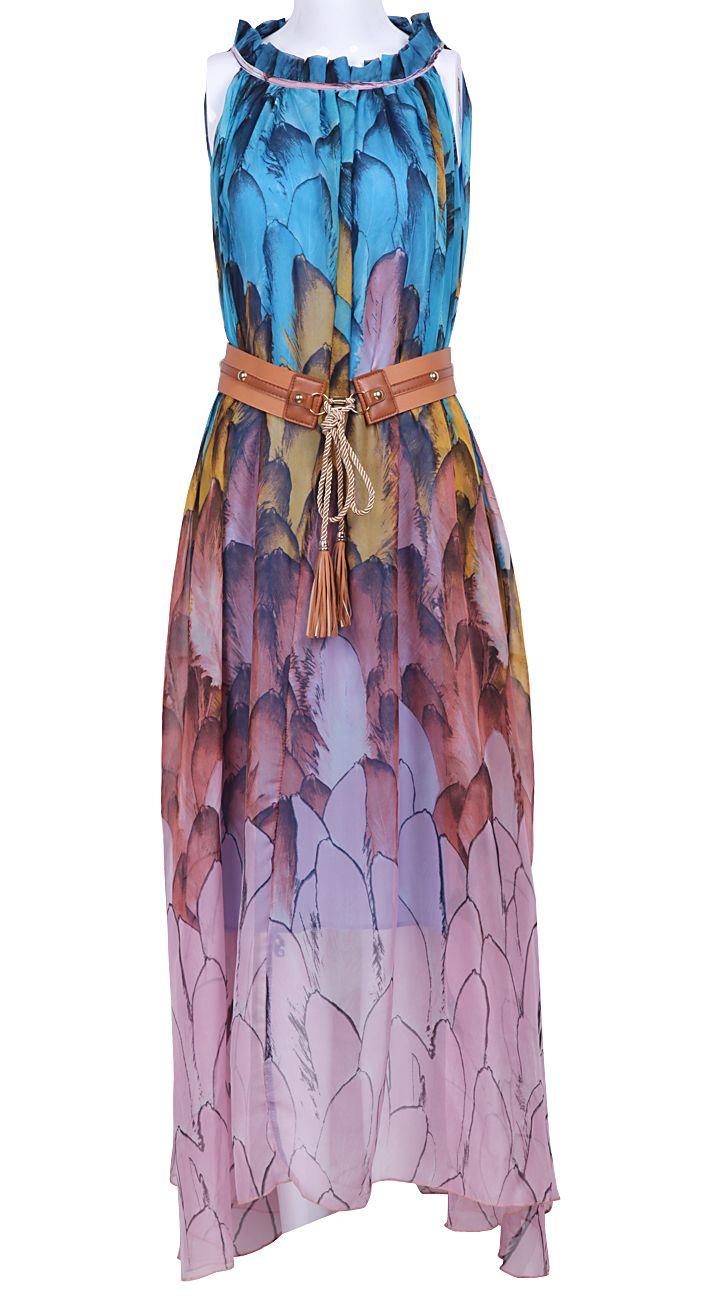 Blue Sleeveless Feather Print Belt Chiffon Dress