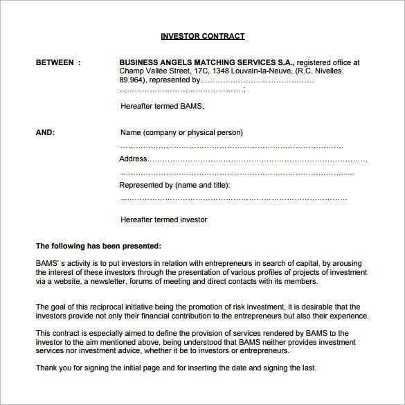 Investment Contract Template 4 Contract Template Investing Contract