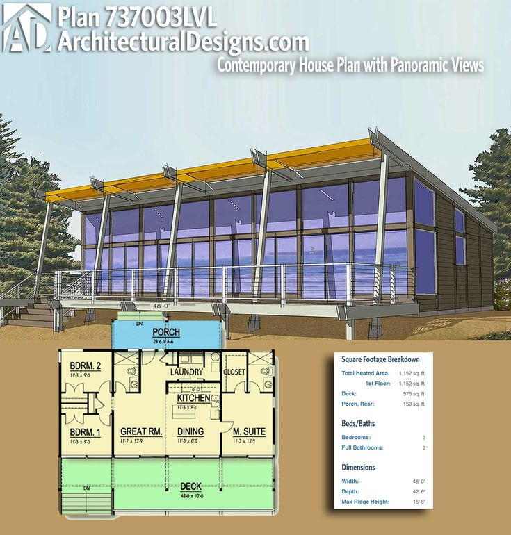 Architectural Designs Modern Plan 737003LVL has 3 beds and 2 baths and 1,100+ square feet of heated living space. Ready when you are. Where do YOU want to build? #737003lvl #adhouseplans #architecturaldesigns #houseplan #architecture #newhome #newconstruction #newhouse #homedesign #dreamhome #dreamhouse #homeplan #architect #architect #houses #house #homedecor