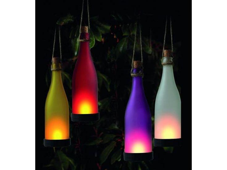 Üveg alakú napelemes lámpa, LED-es, 4 féle színben