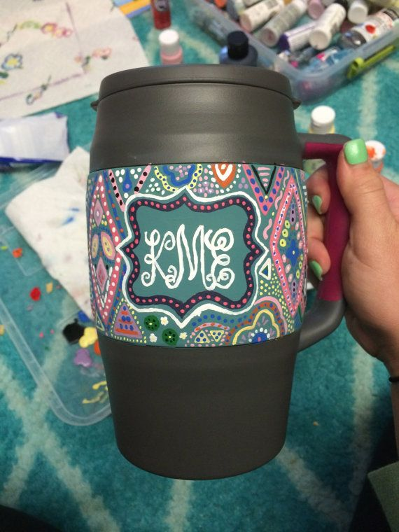 Painted Monogram 34oz Bubba Keg by pommedeterreviolette on Etsy