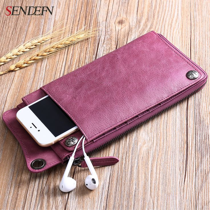 SENDEFN Genuine Leather Women Wallet First Layer of Cowhide Ultra-thin Lady Clutch Zipper Phone Pocket Purse Female Wallet