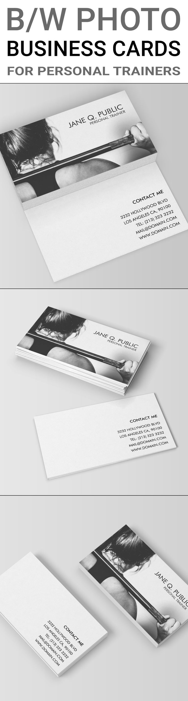 Black and white business cards template for personal trainers, fitness trainers and athletes. The front of the business card template shows a black and white photograph of a woman lifting weights and doing exercise. It also includes your name and job titl