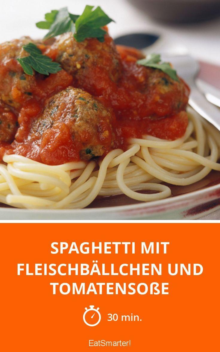 Spaghetti mit Fleischbällchen und Tomatensoße - smarter - Zeit: 30 Min. | eatsmarter.de
