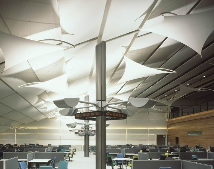 Fabric Ceiling Kite Shapes At Saga Call Centre Interior