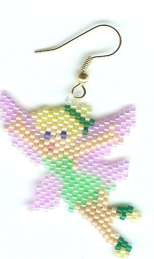 Hand Beaded Tinkerbell earrings by beadfairy1 on Etsy, $9.95