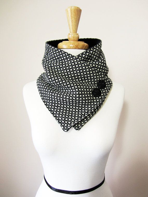 Unique and classy neck warmer scarf!  Made with soft upcycled black and white poly/wool blend fabric.  Backed with black fleece for added warmth. Adorned with vintage-like black decorative buttons. Secures around neck with snap.    This neck warmer is a Christina Robinson original design.    Please check out my policies section before making your purchase.  http://www.etsy.com/shop/OhMaudlinMe/policy  Thanks
