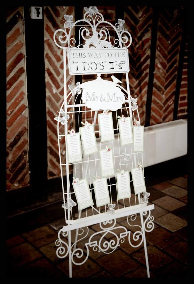 Birdcage Style Table Plan holder available for hire.