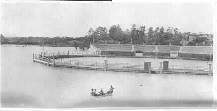 MP 620. View across the Kooyong Tennis Stadium in flood. The stadium is full of water from the Yarra River and Gardiners Creek in flood; 1 December 1934.