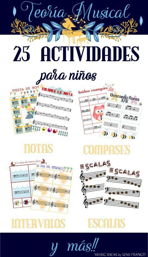 25 actividades de Teoría Musical para niños, con fichas de identificación de notas, intervalos, compases, tonos y semitonos, escalas.