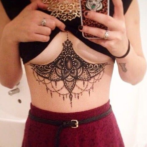 Sternum tattoos are so pretty but I would probably never get one, on account of i am a wimp