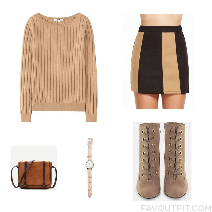 Look Collection Including Uniqlo Sweater Colorblock Skirt Boots And Satchel Handbag From November 2016 #outfit #look