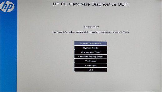 Page d'accueil de l'interface UEFI de diagnostic matériel d'ordinateur HP
