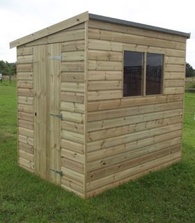 7ft deep x 5ft wide Norton Pent Shed Single ledged & braced door with lock & key Superior tongue & groove cladding in Pressure Treated Loglap style to walls Pent roof style Tongue & Groove wood boards to floor, roof & door Pressure-treated timber used excluding the roof Glazed fixed window x 2 Customising options available FREE Installation Available