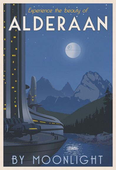 "A Star Wars travel poster by Steve Thomas [Illustration] - ""That's no moon!"""