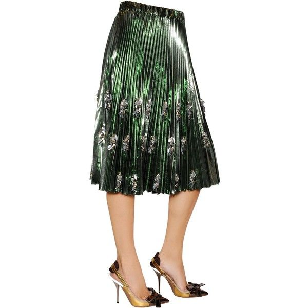 N°21 Women Pleated & Beaded Lame Vinyl Skirt (2,047 CAD) ❤ liked on Polyvore featuring skirts, green, vinyl skirting, lame skirt, beaded skirt, green pleated skirt and pleated skirt