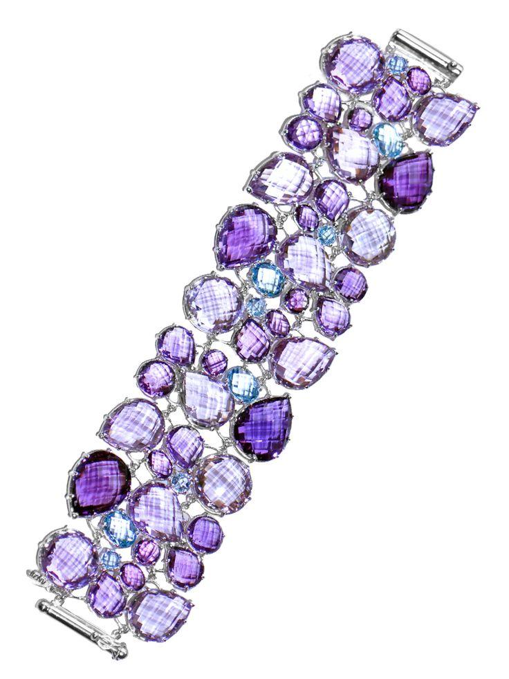 Bouquet Cuff Bracelet - Amethyst & Blue Topaz