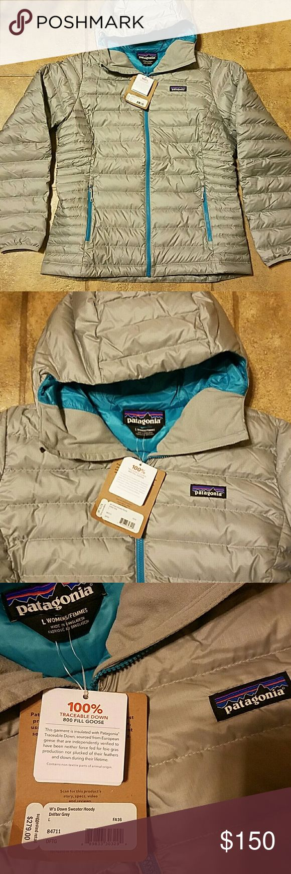 Women's sz lg Patagonia down sweater hoody grey New with tags women's Patagonia sz large down sweater hoody. Color is drifter grey. Patagonia Jackets & Coats
