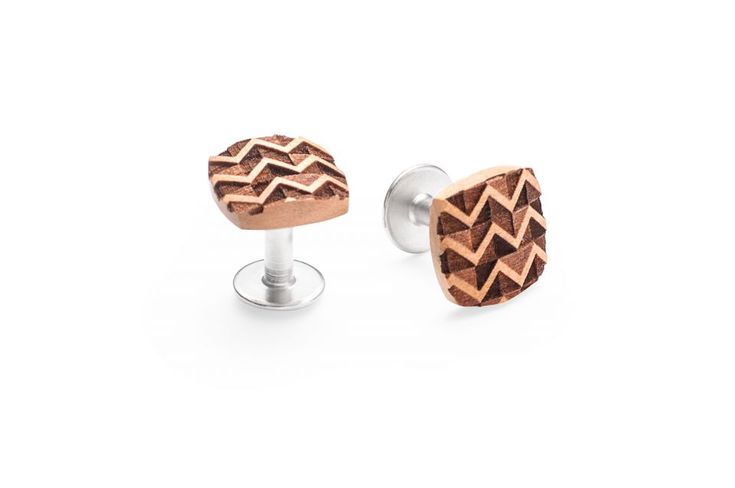 Trio cufflinks are an essential attribute to the gentleman's accessory collection. Crafted with passion from quality zebrano wood and finished with special steel, this pair of wooden cufflinks adds a touch of nature and sophistication to your business outfit. The Trio have a long shape and fixed backing. This subtle add-on to your dress shirt is useful and light – at only ca. 6.8 grams – you won't even notice it! The form of these wooden cufflinks reminds of an extended square and gives it a…