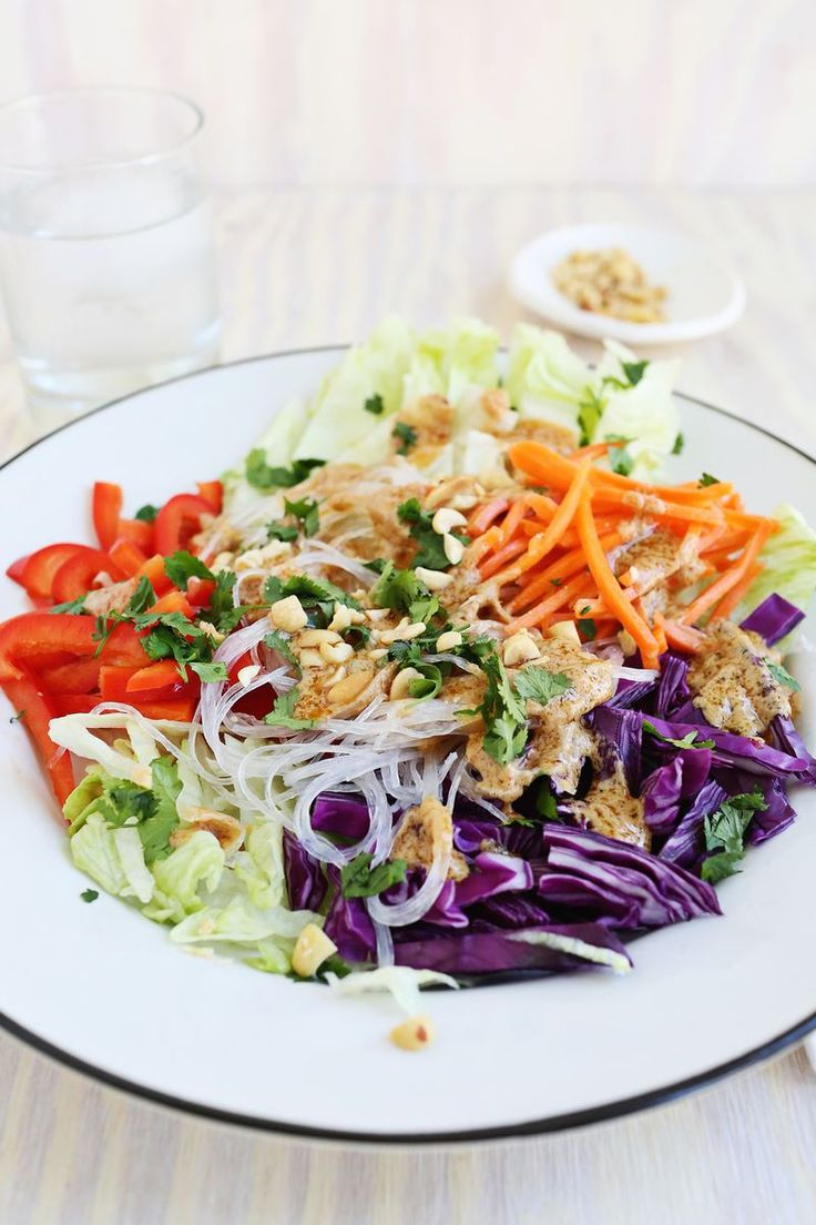 Spring Roll Salad with Spicy Peanut Dressing | A Beautiful Mess | Bloglovin'