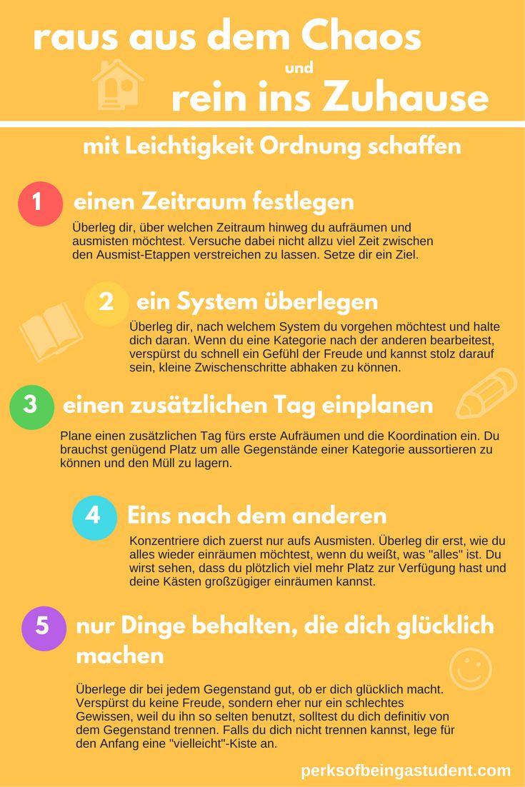 Mit Leichtigkeit ausmisten - 5 Tipps, die dein Leben erleichtern. Ausmisten, Ordnung machen, Aufräumen #perksofbeingastudent