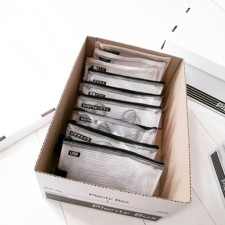 USBコードなどの絡まるコード類、ウォークマンやデジカメなどの小さな家電を、ビニールポーチに小分けして収納し、まとめてペーパーボックスに。