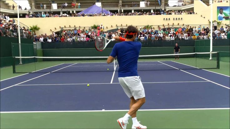 Roger Federer Practice With Tommy Haas Indian Wells 2013