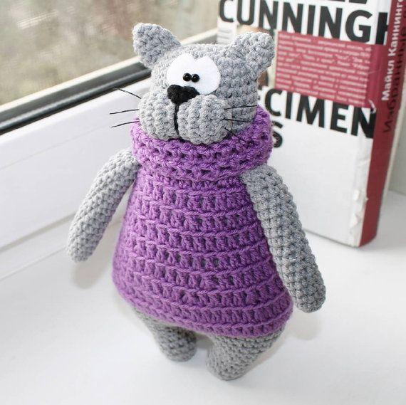 Cat stuffed toy doll  knitted cat crochet cat hand от PrettyBalls
