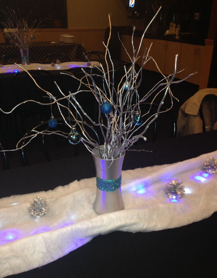 Winter wonderland table centerpieces glass vase willow