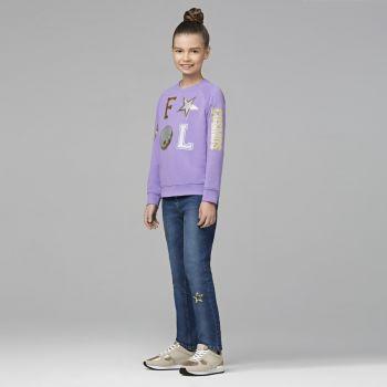 Трикотажный пуловер для девочки, цвет лавандовый