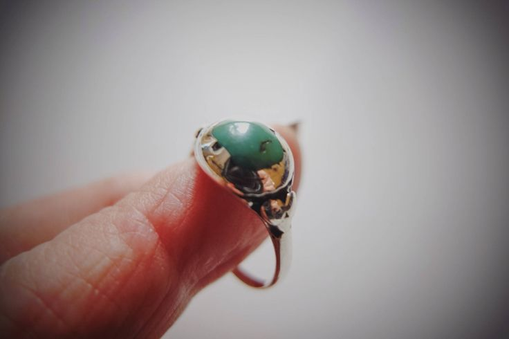 Old Tibetan Ring, Himalaya Turquoise, Tribal Jewelry, Sterling Silver, Green Turquoise, India Jewelry, Tibet Turquoise, Protective Ring, Old