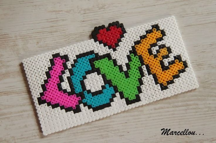 Love hama beads - ATELIER DE MARCELLOU