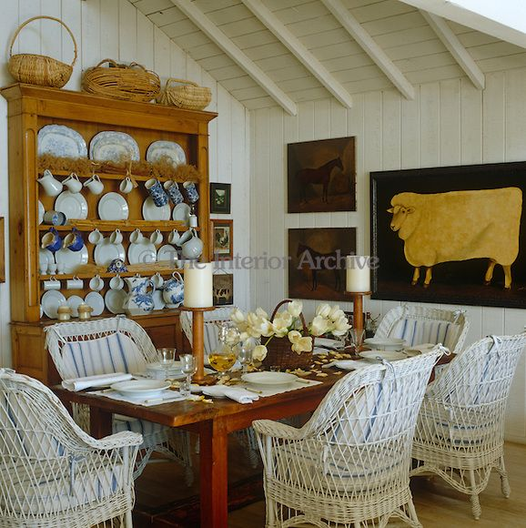 A Large Welsh Dresser Displays Collection Of Blue And White China In This Cosy Cozy Dining RoomsFarmhouse