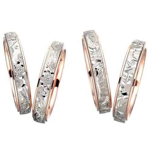桜子 小梅 松風 輝夜  【新作】手彫シリーズ(左から、小梅、桜子、松風、輝夜)「輪」から待望の新作が発表されました。  あたたかみのある色合いで人気のコンビリングでお作りする4mm幅の指輪です。  輪が誇る熟練の職人による繊細な手彫りが施された作品です。    桜子(さくらこ)  永遠に散る事のない美しき桜の舞がふたりの人生を華やかに輝かせる    小梅(こうめ)  寒さに耐える梅の花のようにふたりの想いは永遠に離れる事がない    輝夜(かぐや)  成長の絶えることのない竹のようにふたりの未来は永遠となる    松風(まつかぜ)  松の花言葉「不老長寿」のごとく新鮮で若々しいふたりであり続ける