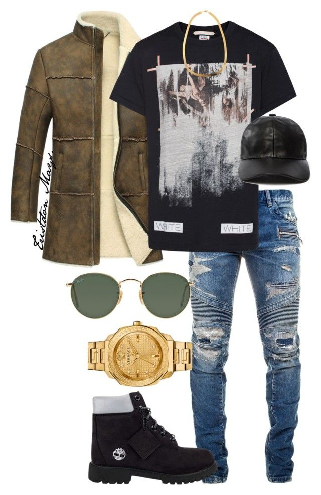 Let Your Presence Be Known. by monroestyles on Polyvore featuring polyvore fashion style Versace Ray-Ban Off-White Balmain Timberland clothing