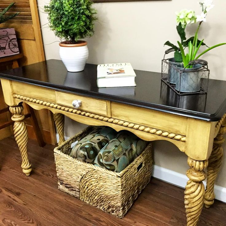 Painted With Somerset Gold Milk Paint, Accented With Van Dyke Brown Glaze  Effects And Topped With The One And Only Java Gel Stain.
