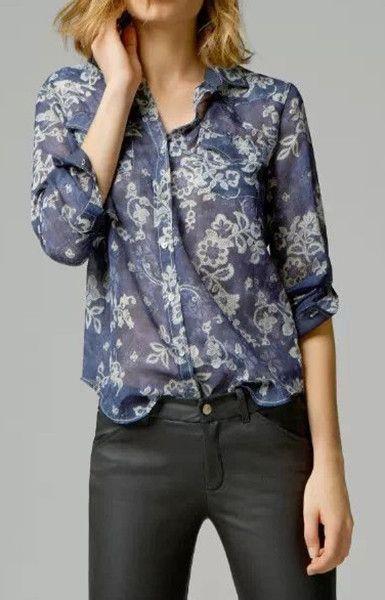 Blue Floral Print Blouse Shirt – Trendy Road