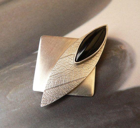 Black onyx Sterling silver brooch handmade metalwork by Mirma, $145.00