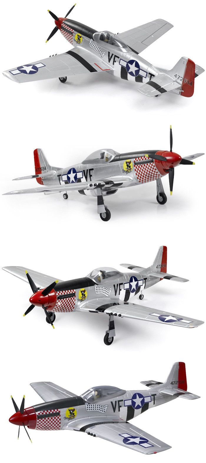 Airplanes 182182: Airfield P51 1450Mm 5Ch Warbird Brushless Rc Plane