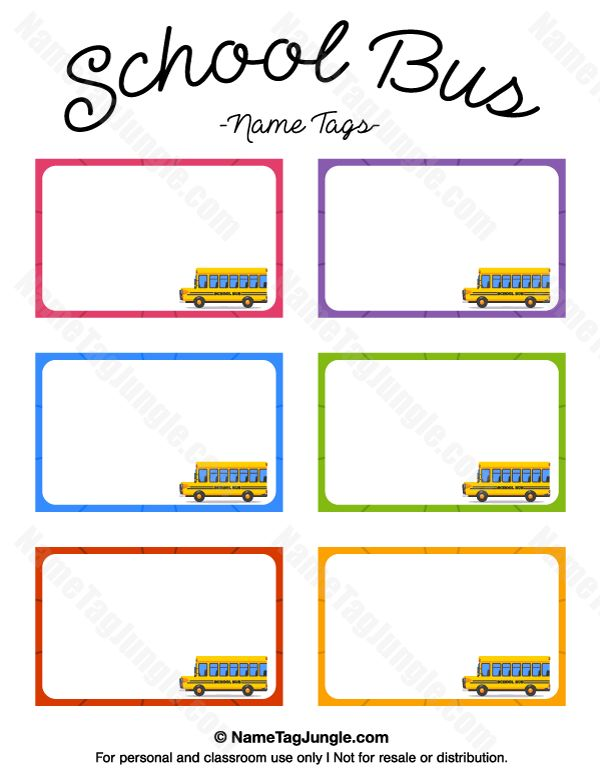 Free printable school bus name tags. The template can also be used for creating items like labels and place cards. Download the PDF at http://nametagjungle.com/name-tag/school-bus/