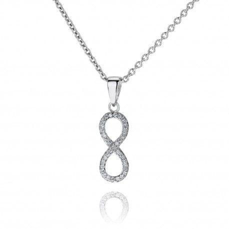 Stříbrný náhrdelník Infinity se zirkony