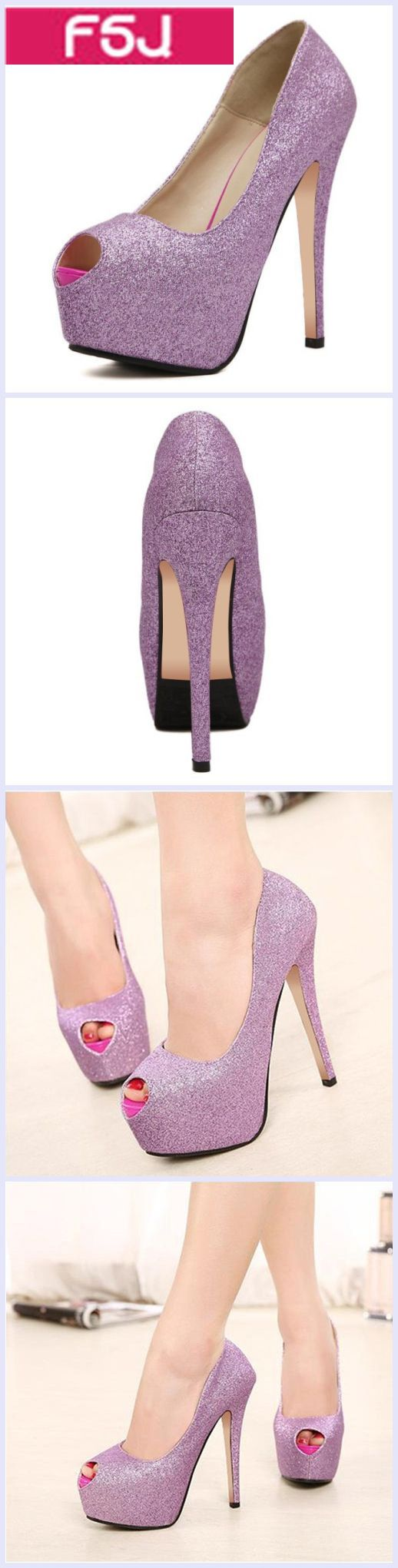 Women's Style Pumps Fall Outfits 2017 Women's Fall Fashion Wedding Dresses Shoes Women's Purple Peep Toe Platform Stiletto Heels Glitter Pumps Wedding Dresses Shoes Prom Dresses Heels| FSJ