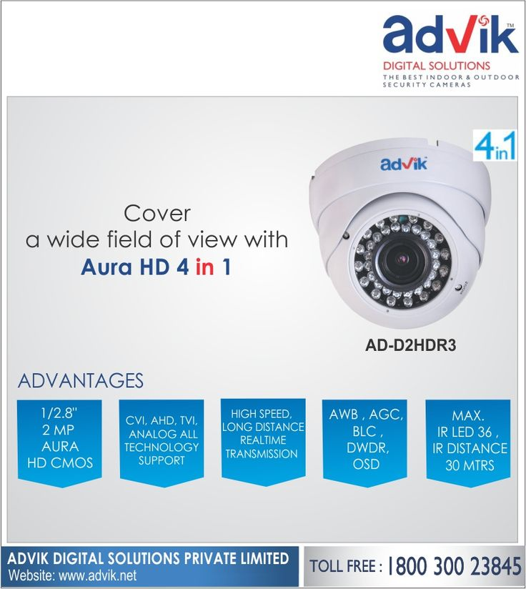 Cover a Wide Field of View with Aura HD 4 in 1!!! Equipped with a viewing angle of more than 80 degrees, Aura HD 4 in 1 #CCTVcamera allows your to capture images and with a wide field of view. This reduces the number of blindspots since a larger area is covered by one single #camera, and any crucial details are captured with great clarity.Click here for more information: http://advik.net/products/security-camera/AD-D2HDR3.html